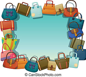 Illustration of an empty surface surrounded with different bags on a white background