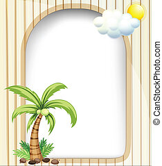 An empty template with a coconut tree