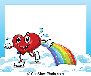 An empty template with a rainbow and a walking heart - ...