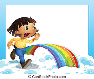 An empty template with a young girl running and a rainbow