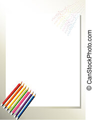 An empty template with colorful pencils at the bottom