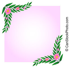 An empty template with pink floral border