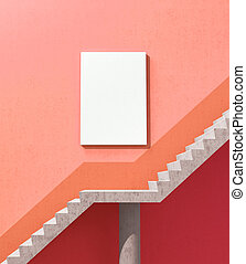 An empty white canvas weighs on the wall near the steps leading to success. 3d illustration