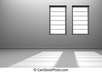 An empty white room with two windows with sunlight streaming in