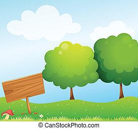 An empty wooden signboard near the mushroom