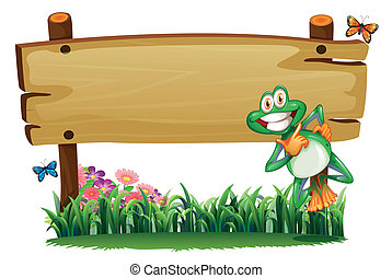 An empty wooden signboard with a playful frog