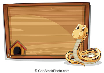 An empty wooden signboard with a snake