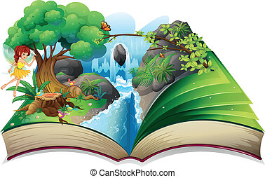 An enchanted book - Illustration of an enchanted book on a...