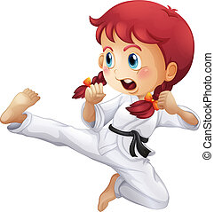 An energetic little girl doing karate - Illustration of an...