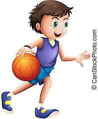 An energetic young man playing basketball - Illustration of...