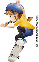 Illustration of an energetic young woman skating on a white background