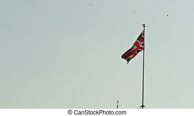 An England flag waving on the breeze of the wind