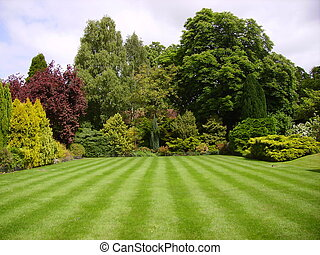 An English country garden in May - A lawned garden in Kent...