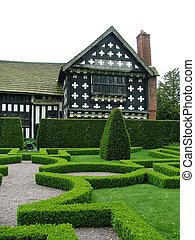 An English knot garden - An old English knot garden with a...