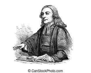 John Wesley - An engraved portrait illustration of John...
