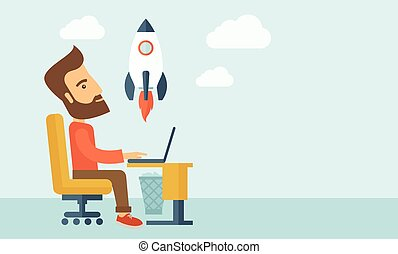 On-line start up - An enthusiastic, eager hipster Caucasian ...