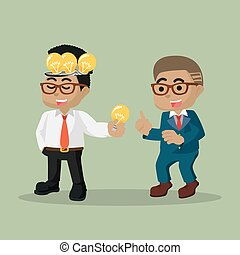 An Entrepreneur share bulb to a businessman