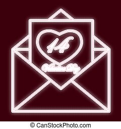An envelope 14 Feb. Icon with the effect of neon glow. The ...