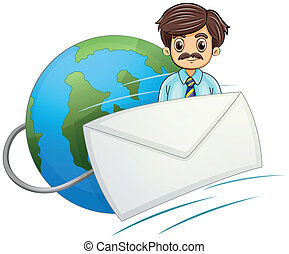 An envelope in front of the businessman with a mustache
