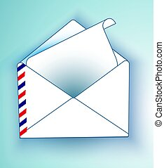 An envelope with a letter on a light background. Vector mailing envelope with the sent