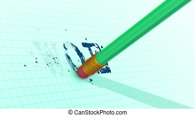 """An eraser on a pencil is erasing typed WOE word from a checkered sheet. 3d rendering."""