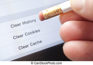An eraser pointing to a clear internet history option on a computer.