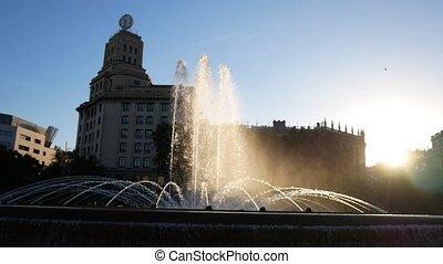 An european showplace. Close up fountain, beautiful lighting