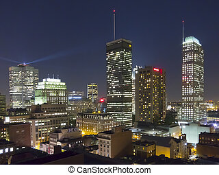 Montreal, Quebec, Canada - An evening view of Montreal, ...