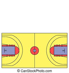 An exact scale vector basketball court illustration with NBA...