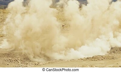 An explosion in a rock quarry - Slow motion of an explosion...