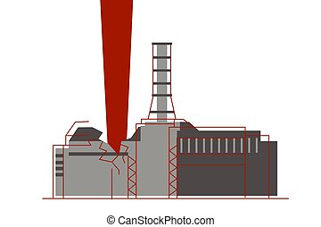 An explosion of the nuclear reactor and atom radiation emission at nuclear power plant. Environmental catastrophe. Vector illustration, eps8