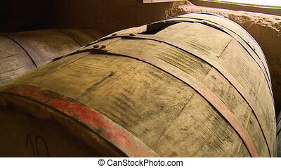 wooden drums used for storing wine - An extreme close up...