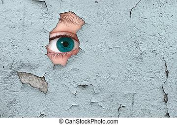 Eye spying through a wall
