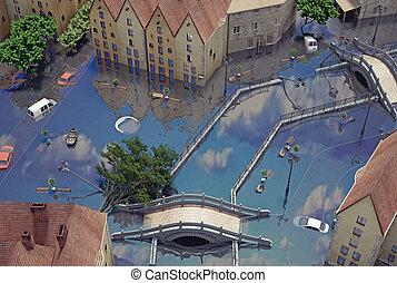 An flooding town