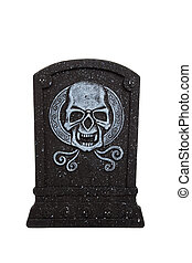 An halloween grave stone on a white background