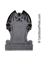 halloween grave stone on a white background