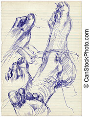 an hand drawing - foot - An hand drawn illustration from...