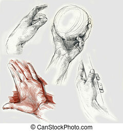an hand drawing - hand, palm