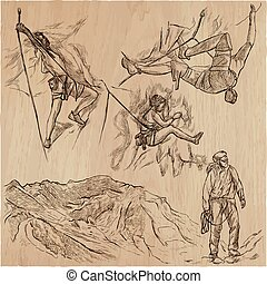 An hand drawn collection, vector pack - CLIMBING. Outdoor, Climbers. Extreme and adrenaline sporting events.