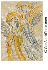 An hand drawn illustration - Angels