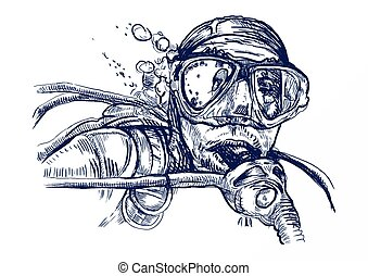 diver - An hand drawn illustration (line art): diver