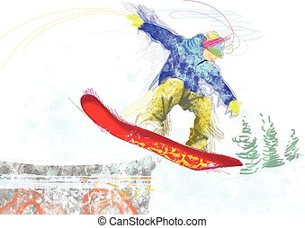 snowboarder - an hand drawn illustration - snowboarder