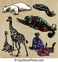 An hand drawn vector collection, pack of animals. Colored line art.