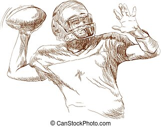 american football player - an hand drawn vector...