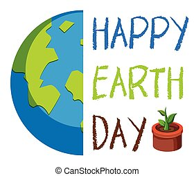 An happy earth day logo