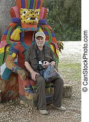 An happy senior tourist