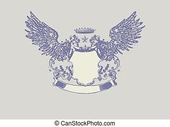heraldic shield - An heraldic shield or badge, blank so you...