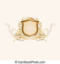heraldic shield - An heraldic shield or badge , blank so you...