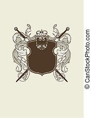 heraldic shield - An heraldic shield or badge, blank so you ...