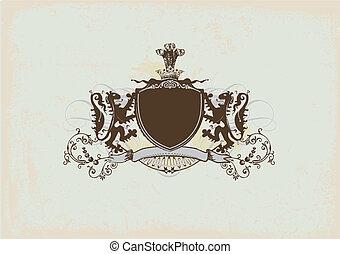 heraldic shield - An heraldic shield or badge with lion , ...